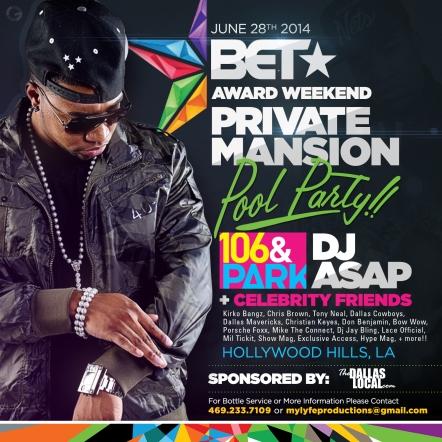 DJ ASAP Mansion Pool Party BET Award Weekend 2014